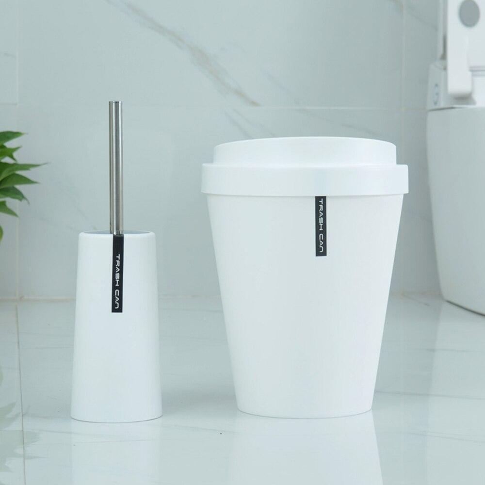 Modern Round Mug Closed Toilet Brush Holder Scrubber&Trash Bin Can ...