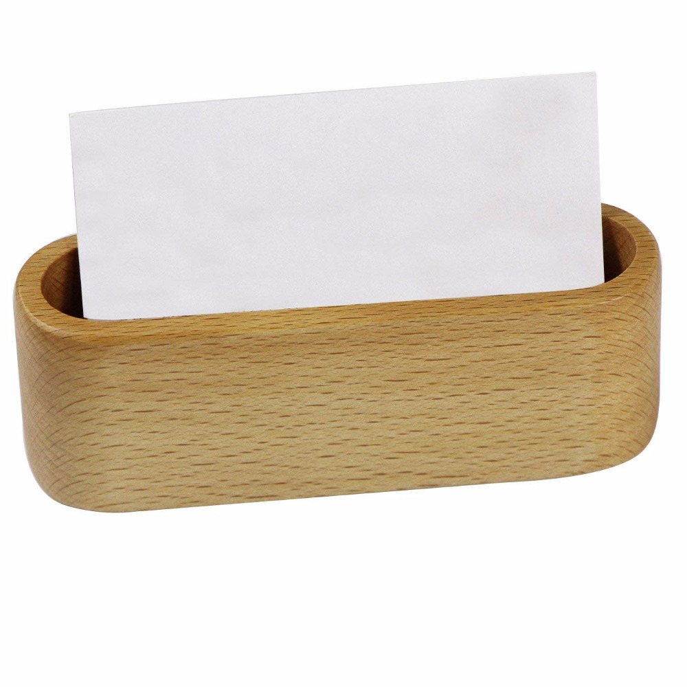 Wooden Desktop Business Card Holder Display Stand Beech Wood Card Case Storage Box