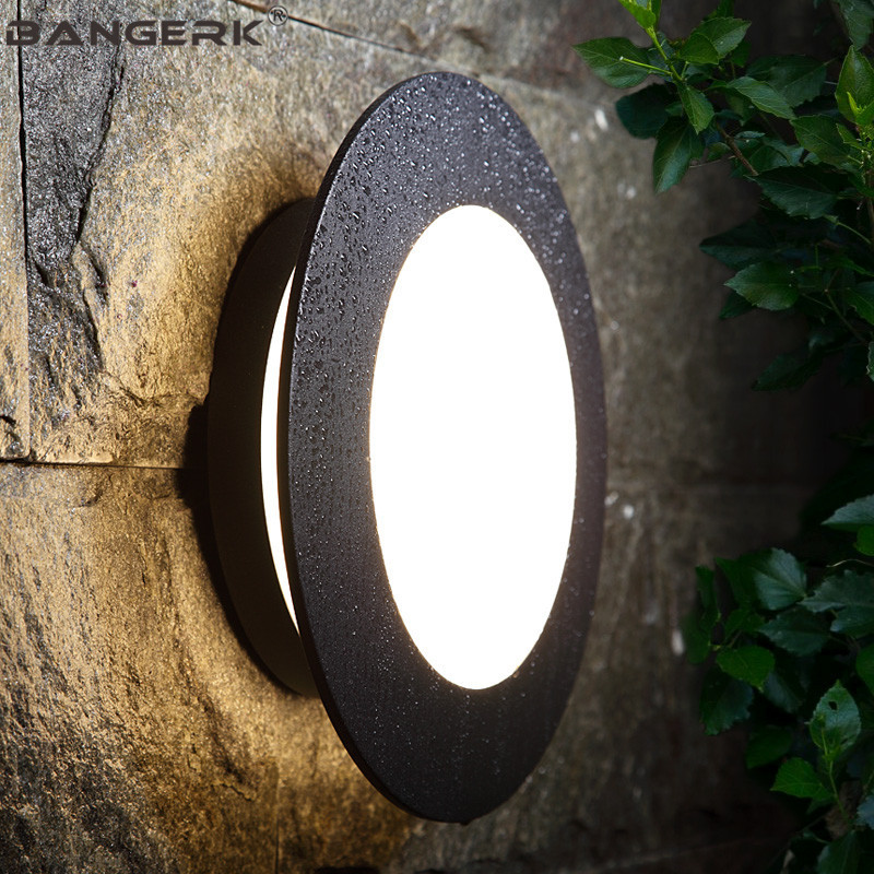 Simple Circular Outdoor Wall Lamp Waterproof Rust LED Porch Lights Modern Wall Sconce Garden Courtyard Aluminium