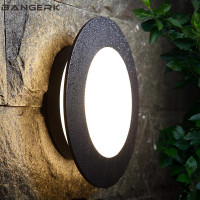Simple Circular Outdoor Wall Lamp Waterproof Rust LED Porch Lights Modern Wall Sconce Garden Courtyard Aluminium Lighting