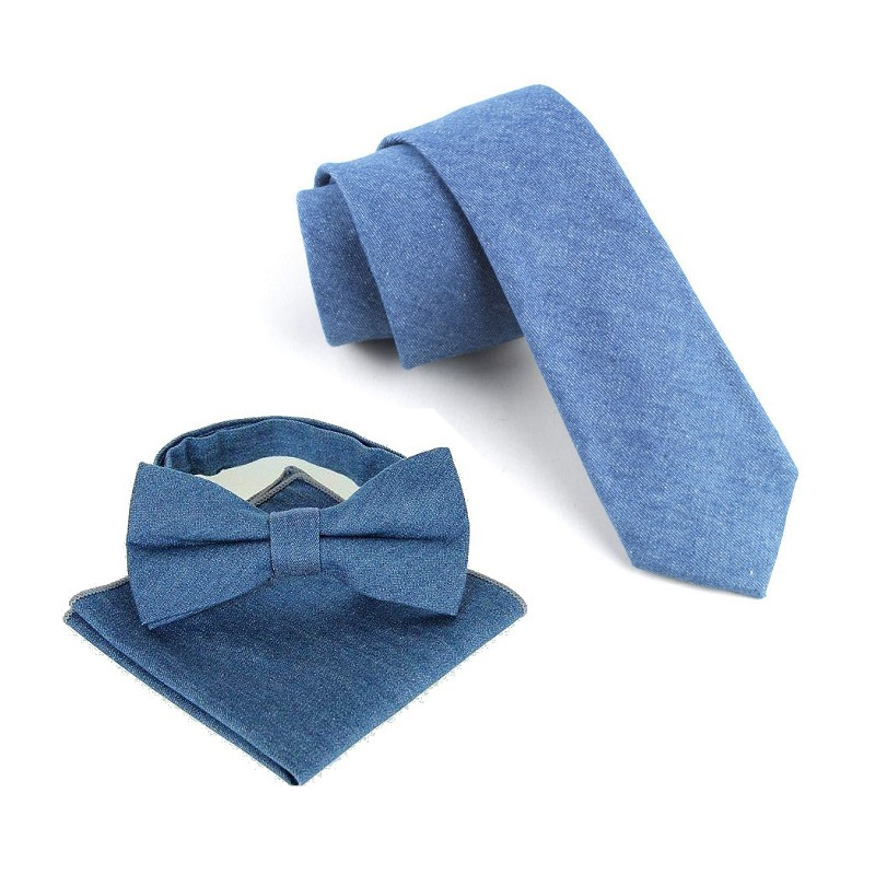 cotton necktie set for men cowboy tie handkerchief bow tie butterfly - Apparel Accessories