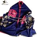 Двусторонняя Цветок Печати Кашемировый Шарф и Платок для Женщин Зимой Шерстяные Пашмины Мода Роскошные Цветочные Пашмины для Женщин