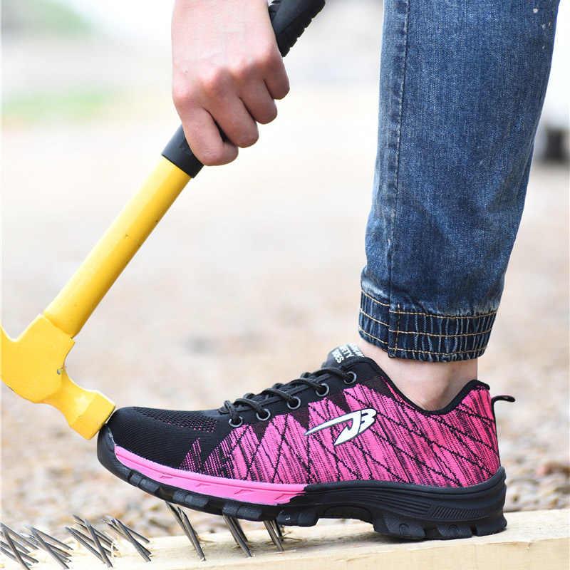 ROXDIAแบรนด์toecapทำงานผู้หญิง & ความปลอดภัยรองเท้าสบายๆเหล็กMID Soleทนต่อแรงกระแทกรองเท้านุ่มPLUSขนาด 35-40 RXM107
