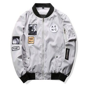 Fashion Zipper Jackets Men Thin Bomber Jacket Hip Hop Patch Designs Slim Fit Pilot Bomber Jacket Coat Men Jackets Plus Size 4XL