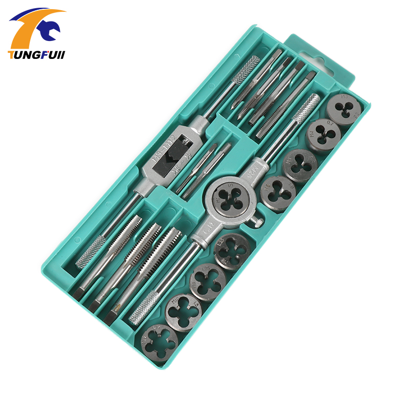 20pcs Inch or  Metric system Tap Dies Set 1/2''-6''NC Screw Thread Plugs Taps Carbon Steel Hand Screw Taps Hand Tools dreld 30pcs metric mini taps dies set m1 m2 5 screw thread plugs taps alloy steel screw taps with tap wrench hand tools set