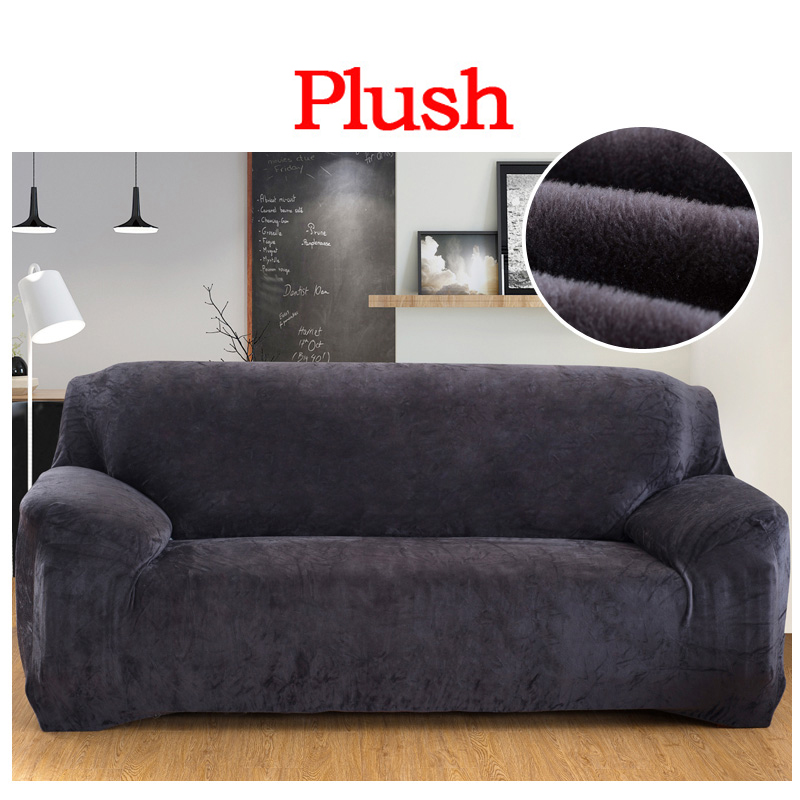 Elastic Slipcover Solid Color Plush Stretch Sectional Sofa