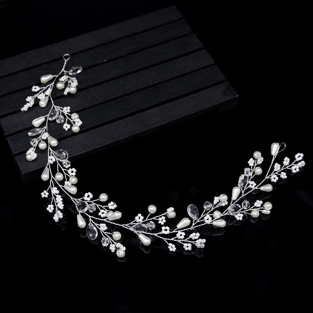 New Fashion Pearl Flower Vine Tiara Bride Head Chain Bridal Headbands Hair Ornaments Wedding Hair Accessories 6