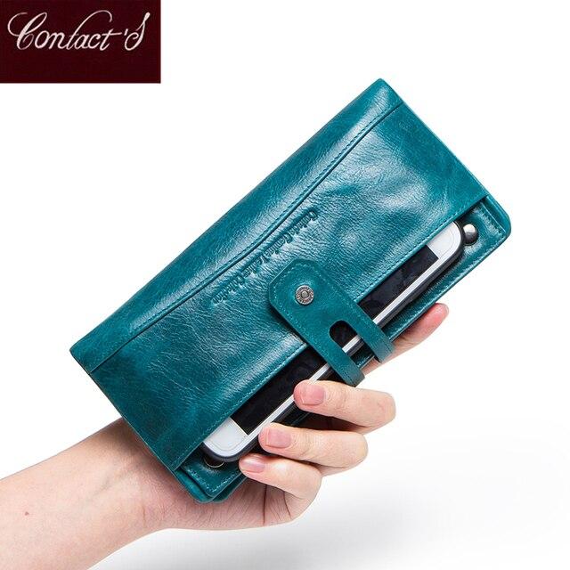 Contacts Fashion cartera de piel auténtica para mujer, cartera femenina de diseño largo, monedero, tarjetero, bolsillo para teléfono, alta calidad