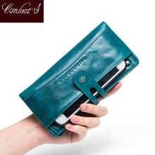Portafoglio moda da donna portafoglio donna in vera pelle portafoglio lungo Design portamonete porta carte tasca per telefono alta qualità da donna