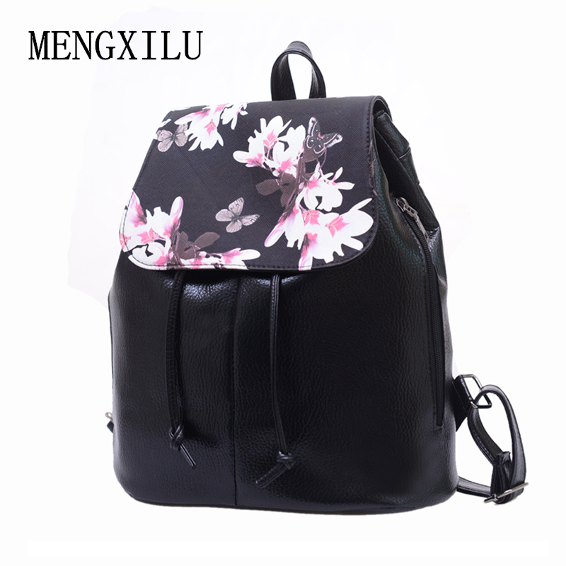 Women Backpack Leather Mochila Women Floral Black School Bags Printing Backpacks For Girls Drawstring Backpack Female