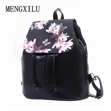 Women Backpack Leather Mochila Women Floral Black School Bags Printing Backpacks For Girls Drawstring Backpack female