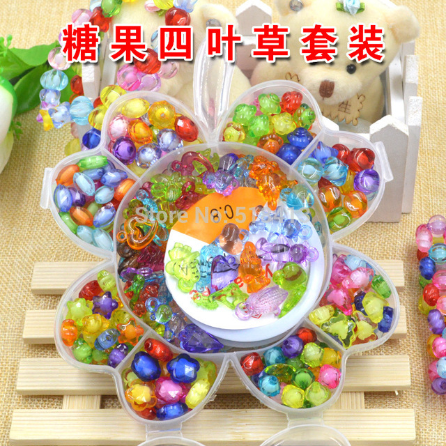 Girls Beaded Handmade Diy Toy Materials Woven Bracelet Necklace Girl Birthday Party Gifts Present Fancy Delicate Toys Suit