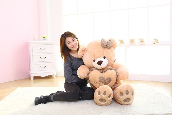 big new plush teddy bear toy with brown heart and bow lovely stuffed bear doll gift about 120cm big lovely pink teddy bear doll candy colours teddy bear with spots bow plush toy doll birthday gift about 120cm