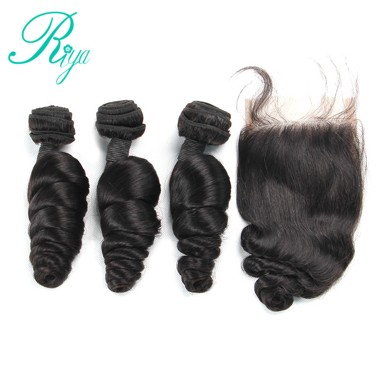 Loose Wave 3 Human Hair Bundles With 4x4 Lace Closure With Bundle 4 Pcs Brazilian Hair Weave Bundles With Closure Riya Hair