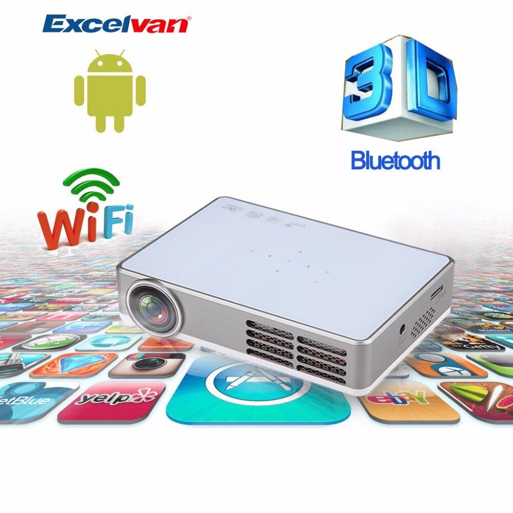 Prix pour Hot excelvan led9 android 4.4 dlp wifi projecteur soutien miracast/full 3d/1080 p/app téléchargement/bluetooth 4.0 smart proyector