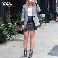 Office Lady 2018 New Fashion Single Breasted Plaid Turn Down Collar Womens Blazers Star Style Hot