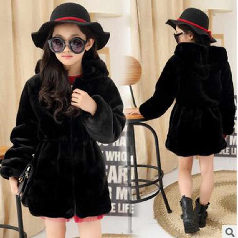 Hot sale 2018 Fashion Girls winter Faux Fur Fleece Girls' Coat Kids Warm Jacket parka elegant clothing for girls Children Snowsu