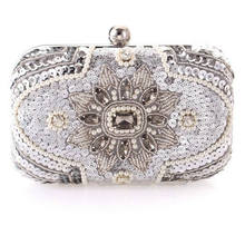 New 2017 Glitter women beaded clutch silver evening bags with chains handbag wedding dress bag party purse  Banquet package w611