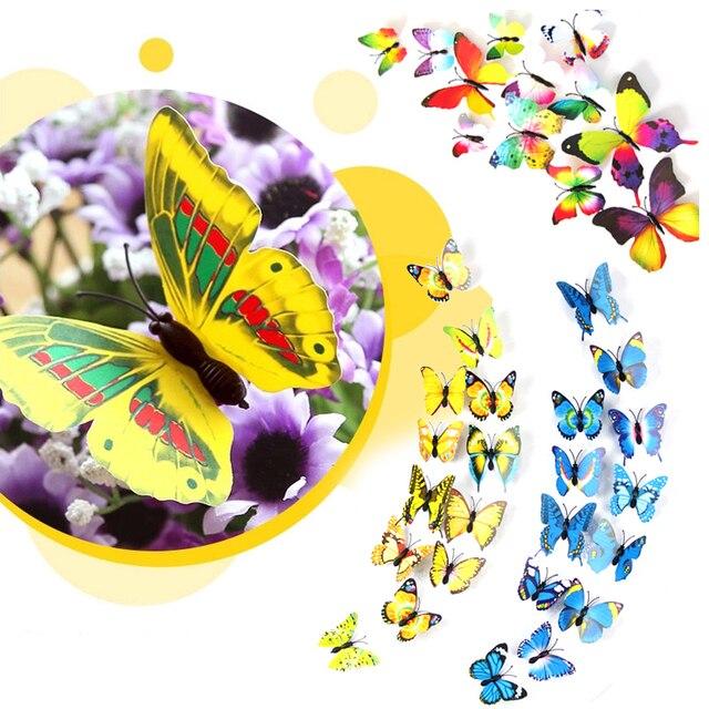 12 pieces/lot PVC 3d Butterfly wall decor cute Butterflies wall ...