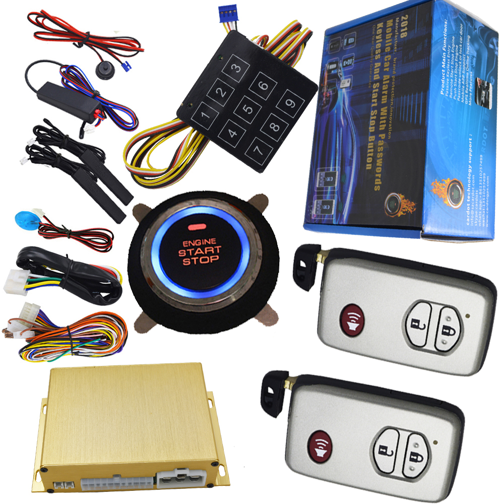 auto button start stop smart car alarm 3d pke antennas auto window up output remote start stop engine passwords emergency unlock pke smart car alarm system is with passive auto lock or unlock car door keyless go push button start stop remote start stop