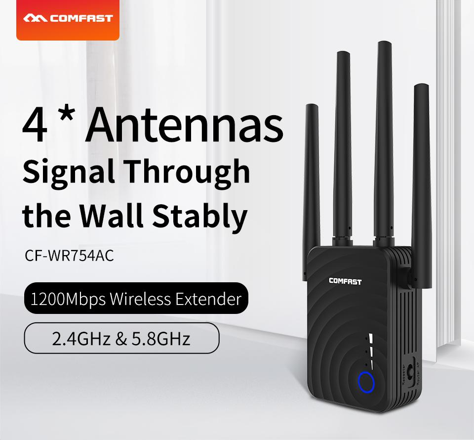 WR754AC 1200Mbps Home Wireless Extender Router Wifi Repeater 5Ghz Long Wifi Range Extender Booster 4*2dbi Antenna