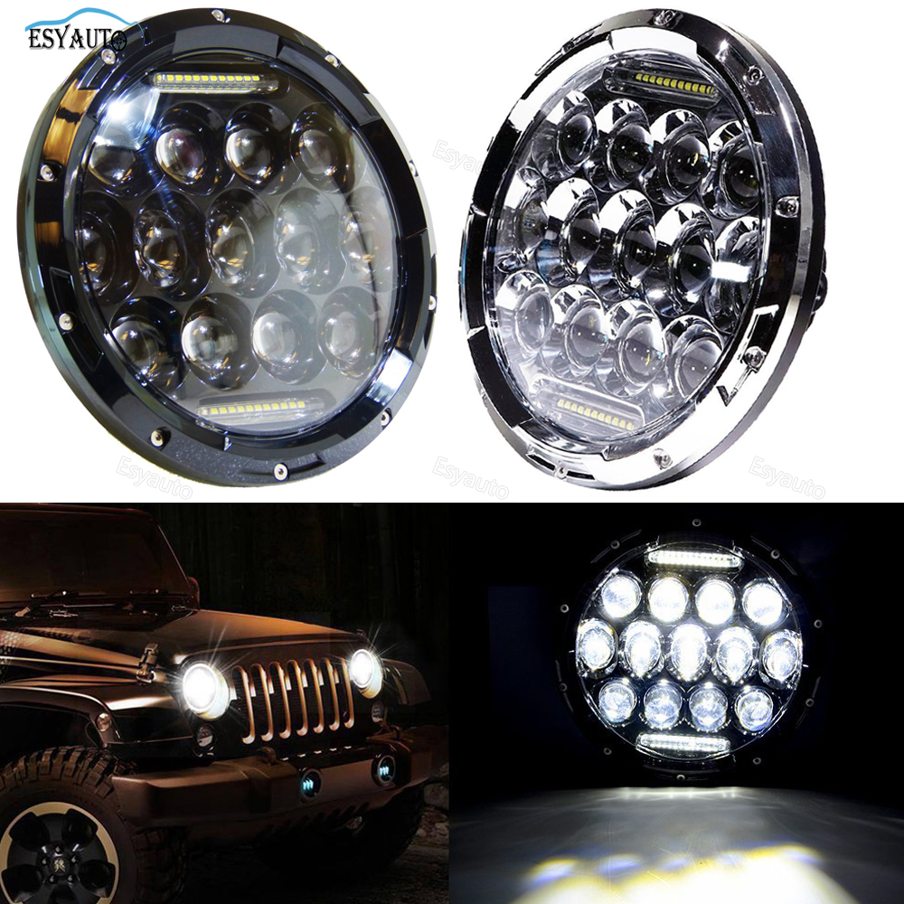 2 PCS 7 Inch LED Daymaker Headlights Projector DRL High Low Beam 7 Headlamp Replacement for Jeep Wrangler JK TJ LJ 4x4 Off Road 1pcs 7 80w headlamp led headlight with drl for jeep wrangler jk tj fj harley off road lights high low beam new free shipping