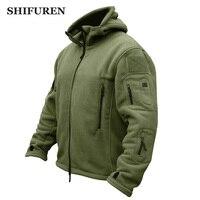 SHIFUREN Outdoor Fleece Jacket Men Winter Warm Thicken Polar Hiking Jacket Coats Multi Pocket Outerwear Hooded Military Jackets