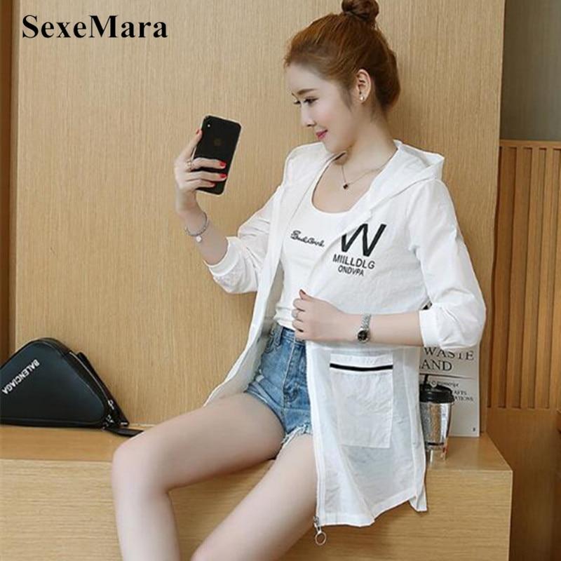 SexeMara 2019 Summer New Female Long-sleeved Sun Protection Clothing Women Sunscreen Coat Fashion Solid Hooded Loose UV Jacket 47
