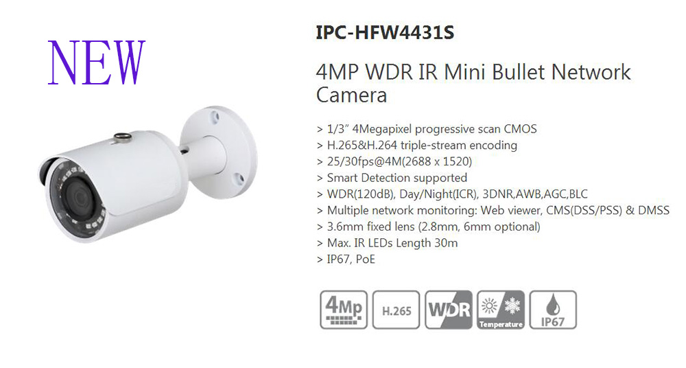 Free Shipping DAHUA Security IP Camera 4MP WDR IR Mini Bullet Network Camera IP67 PoE Without Logo IPC-HFW4431S free shipping dahua cctv security ip camera 3mp wdr ir bullet network camera ip67 ik10 with poe without logo ipc hfw8331e z5