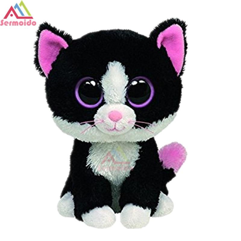 где купить sermoido TY 6'' Beanie Boos Pepper the Cat Doll Collectible Soft Big Eyes Plush Animal Toys For Kids DBP16 по лучшей цене