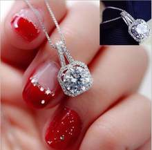 High Quality 2017 New Fashion Square Rhinestone Crystal Zircon Pendant Necklace gift Women Silver Metal Chain Necklace Jewelry(China)