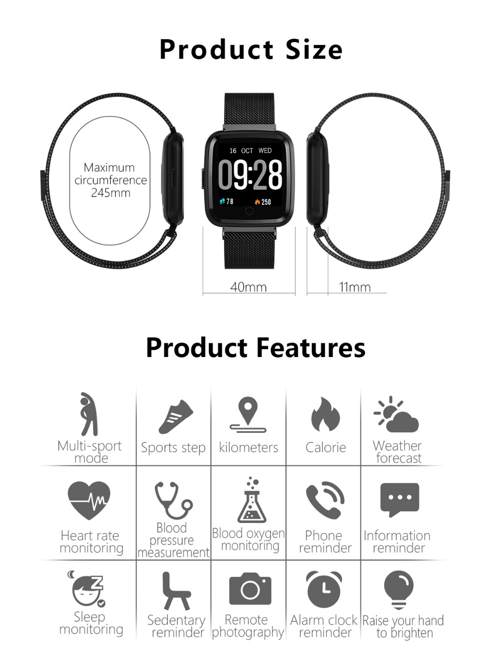 Huawise Y7 smartwatch 11