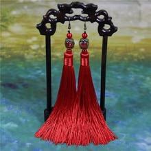 2018 Jauns ķīniešu stils sieviešu sarkans garš pušķis auskari Kāzu svinības Kāzu kāzu rotaslietas stikla auskari bezmaksas piegāde