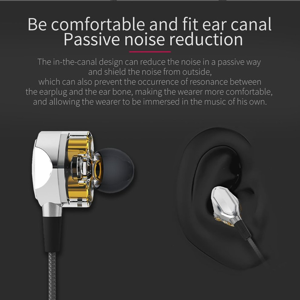 5PCS In-ear HiFi Earphones Dual Dynamic Driver 4D Stereo Surround Noise Canceling Professional HIFI Earbuds With Mic