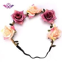M MISM Bridal Wedding Roses Headband Summer Bohemia Flowre Hair Band Beach Head Wrap Women Hair Accessories Garland Headdress