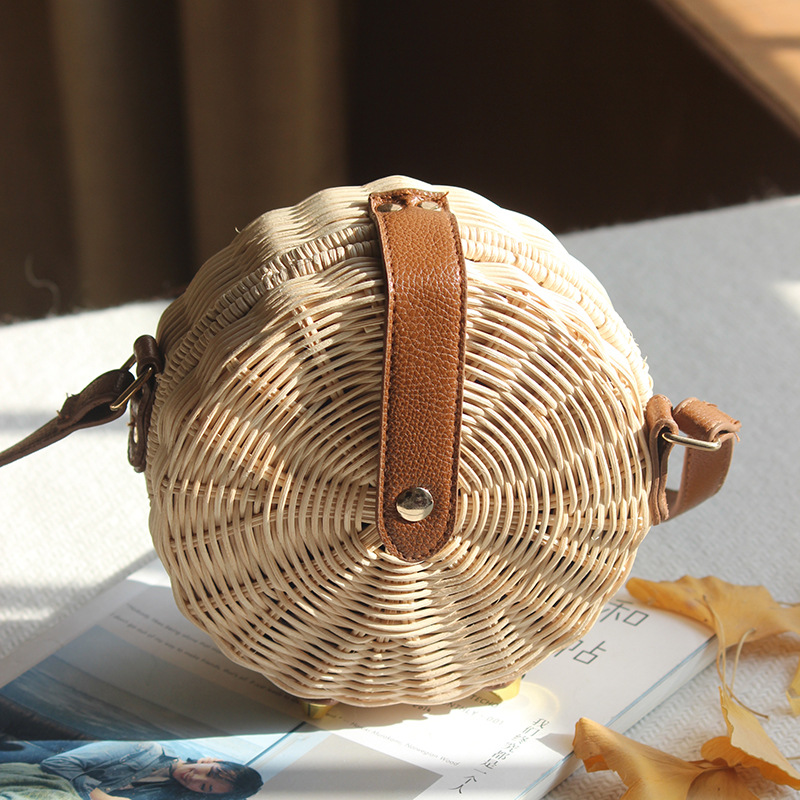 Round Rattan Bag Female Straw Beach Bag Holiday Bag Shoulder Diagonal Bag 6