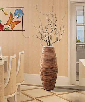 Kínai fehér és barna szürke bambusz padló váza nagy kézműves - Lakberendezés - Fénykép 5