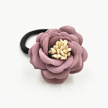 Фотография NEW ARRIVAL Flower Hair Band Women Hair Accessories Elastic Rubber Hair Ropes Hair Ties 3 Different Designs Mixed16 Colors Stock