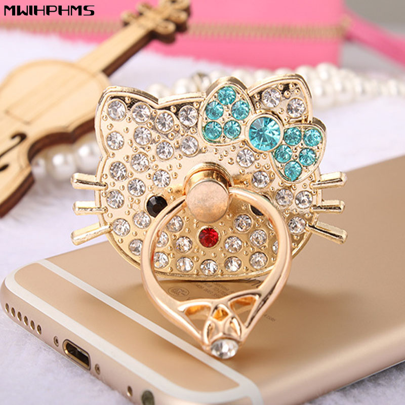 Mwihphms 360 grader Hello Kitty diamanter Fingerring mobiltelefon stativ holder til alle Smart Phone / tablet Se video support