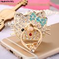 Mwihphms 360 Degree Hello Kitty diamonds Finger Ring Mobile Phone Stand Holder For all Smart Phone/tablet Watch video support