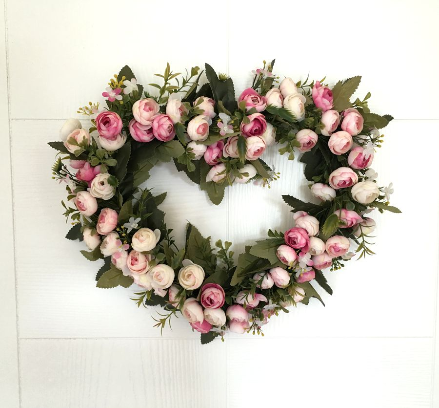 Heart shape rose garland door decoration wedding flower for Automobile decorations home
