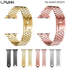 LPWHH Zinc Alloy Steel Strap For Apple Watch Fish Scale Stainless Watchband IWatch Chain Belt Metal Buckle Bands