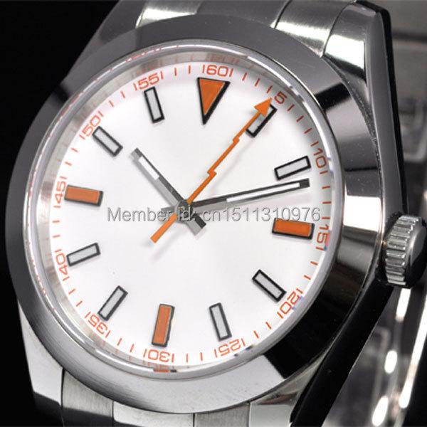 parnis luminous vintage orange lightning hands automatic movement mens watch P11
