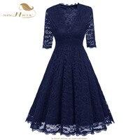 שמלת תחרה סקסית SISHION בהווה חג האהבה לנשים נשים חצי שרוול שחור כחול יין אדום גדולה נדנדה שמלת וינטג 'VD0666