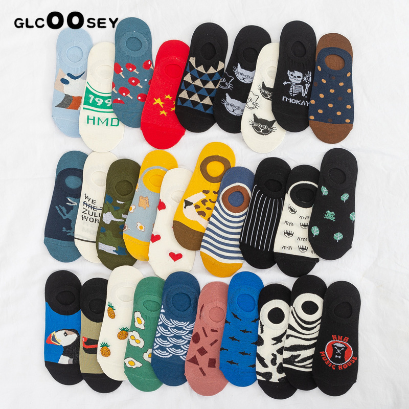 Socks   pack women Cotton invisible boat   socks   Couple summer men's   socks   short ladies tide   socks   Creative street printing kawaii