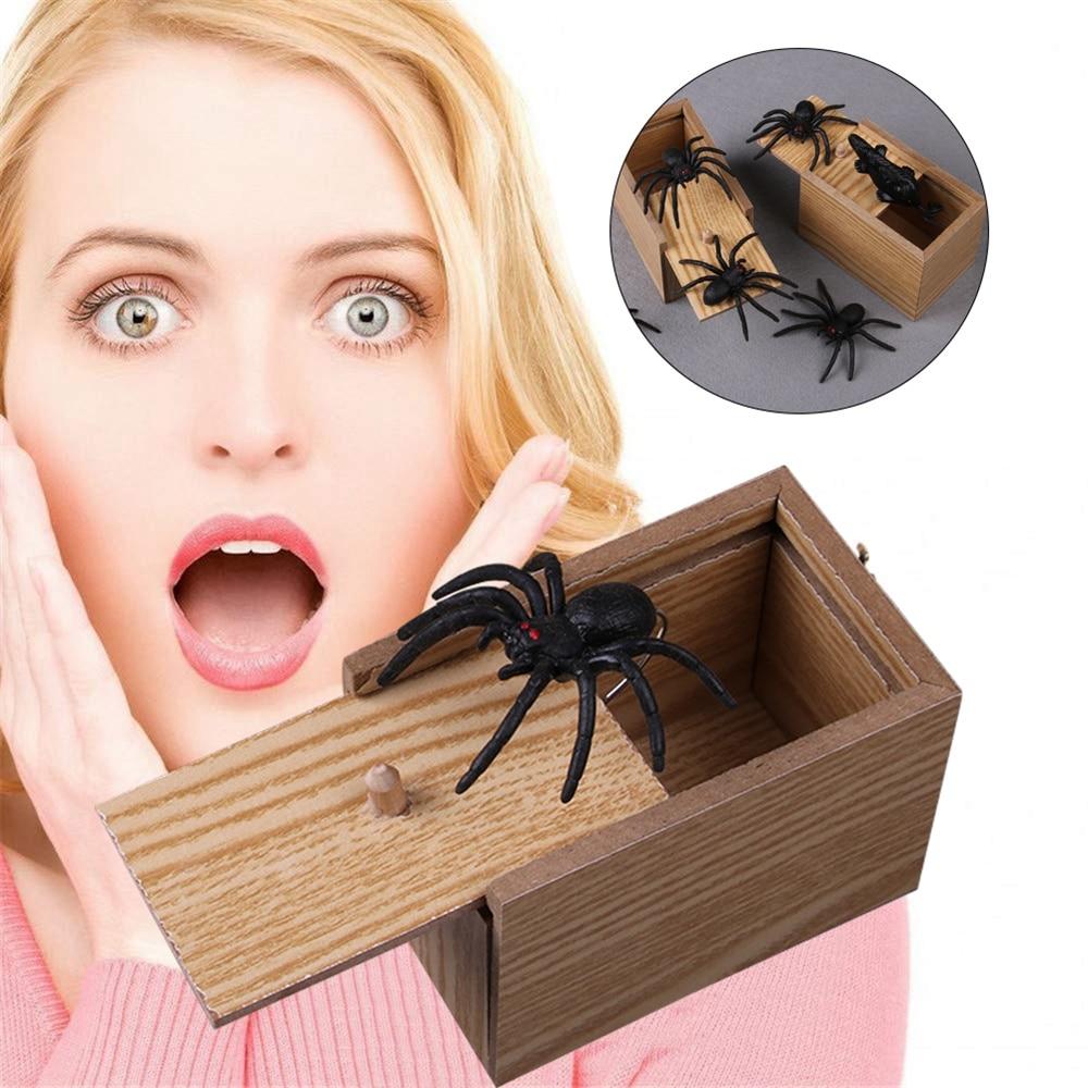 Wooden Prank Spider Scare Box Case