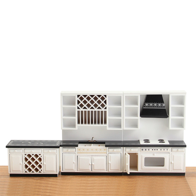 Us 63 08 Diy Dollhouse Miniature Kitchen Furniture White Wooden Cabinet Cupboard Kit 1 12 Best Decor Gift For Doll House Children Toys In Doll
