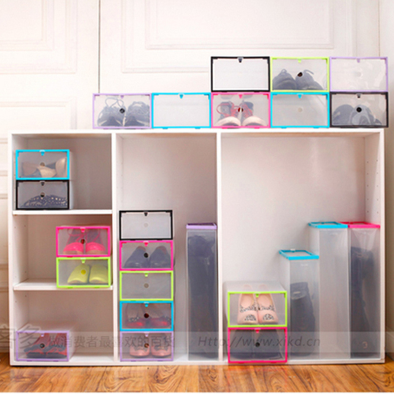 6pcs DIY Rectangle Thickening Increase Drawer Shoe Storage Box Finishing  Clear Plastic Case Boots Shoe Organizer Holder  In Storage Boxes U0026 Bins  From Home ...