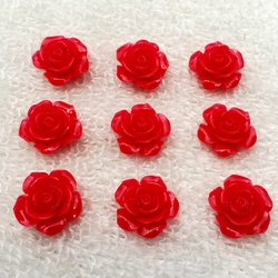Fit For DIY Phone Embellishment 15mm 30pcs/Lot Flat Back Resins Cabochon Scrapbook, 3D Resin Rose Flower -B021