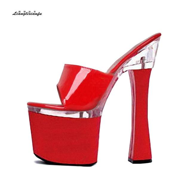 Плюс  34 35-45 46 18 см необычный стиль сандалии Тапочки на платформе для 0a06282e11b87